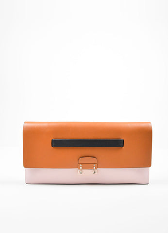 Tan, Pink, and Black Color Block Valentino Leather Rectangle Clutch Bag Frontview