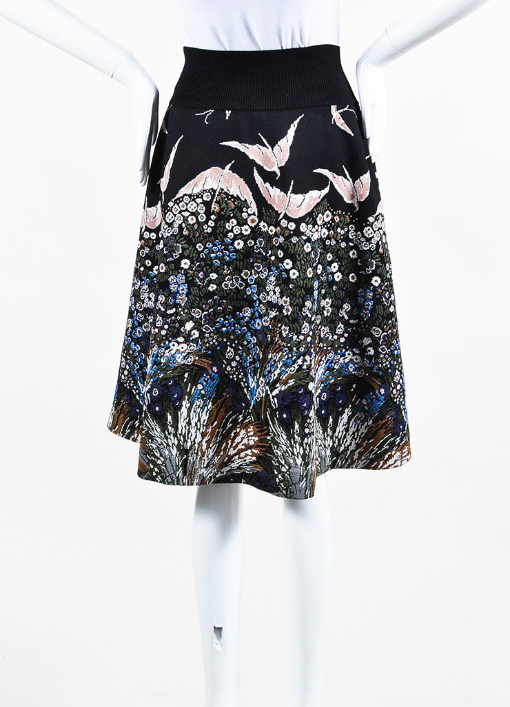 Black and Multicolor Valentino Knit Flower Bird Intarsia Circle Skirt Back