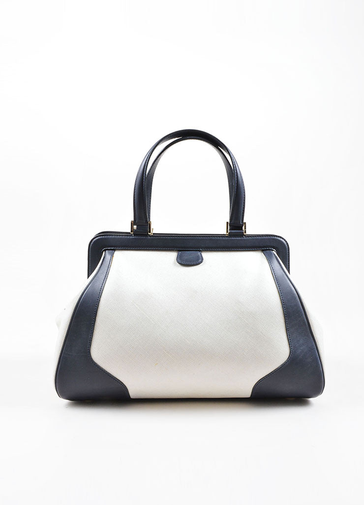 Valextra Midnight Navy Leather and Cream Canvas Doctor Handbag Frontview