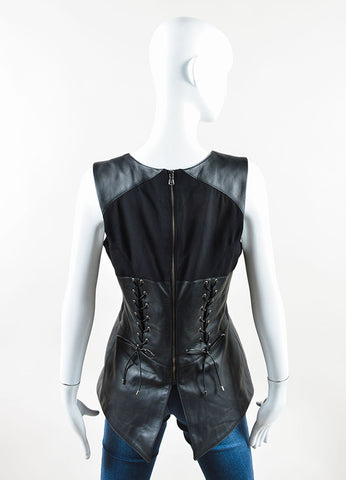 Veronica Beard Black Leather Sleeveless Corset Peplum Top Backview