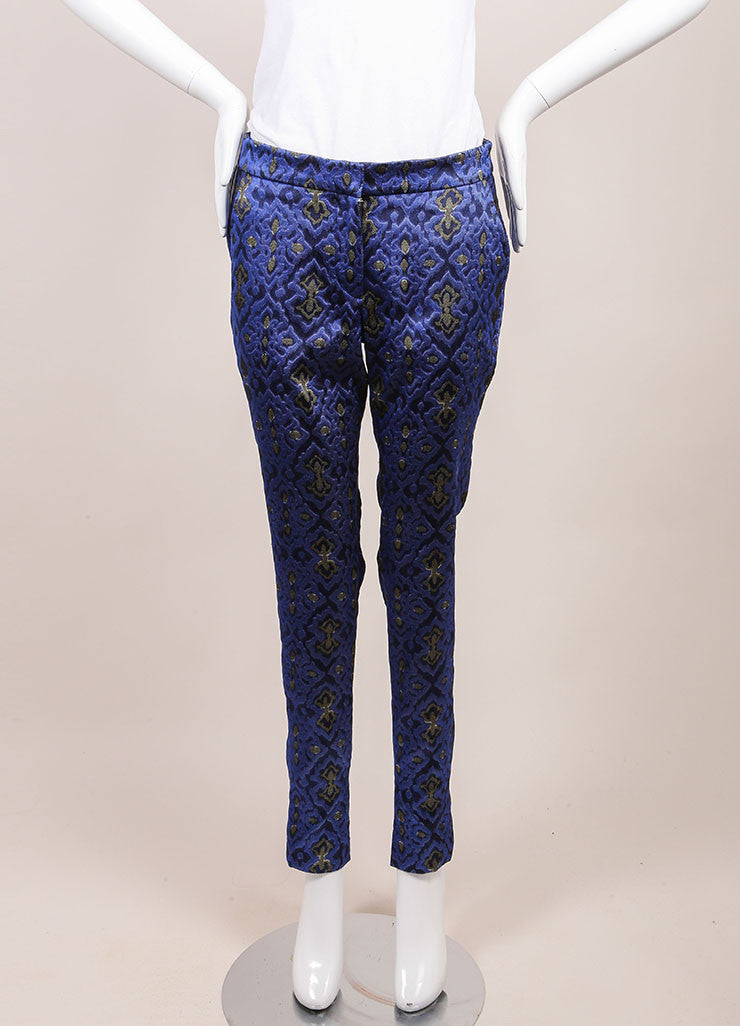 Wes Gordon New With Tags Blue and Yellow Lapis Topkaki Brocade Skinny Pants Frontview