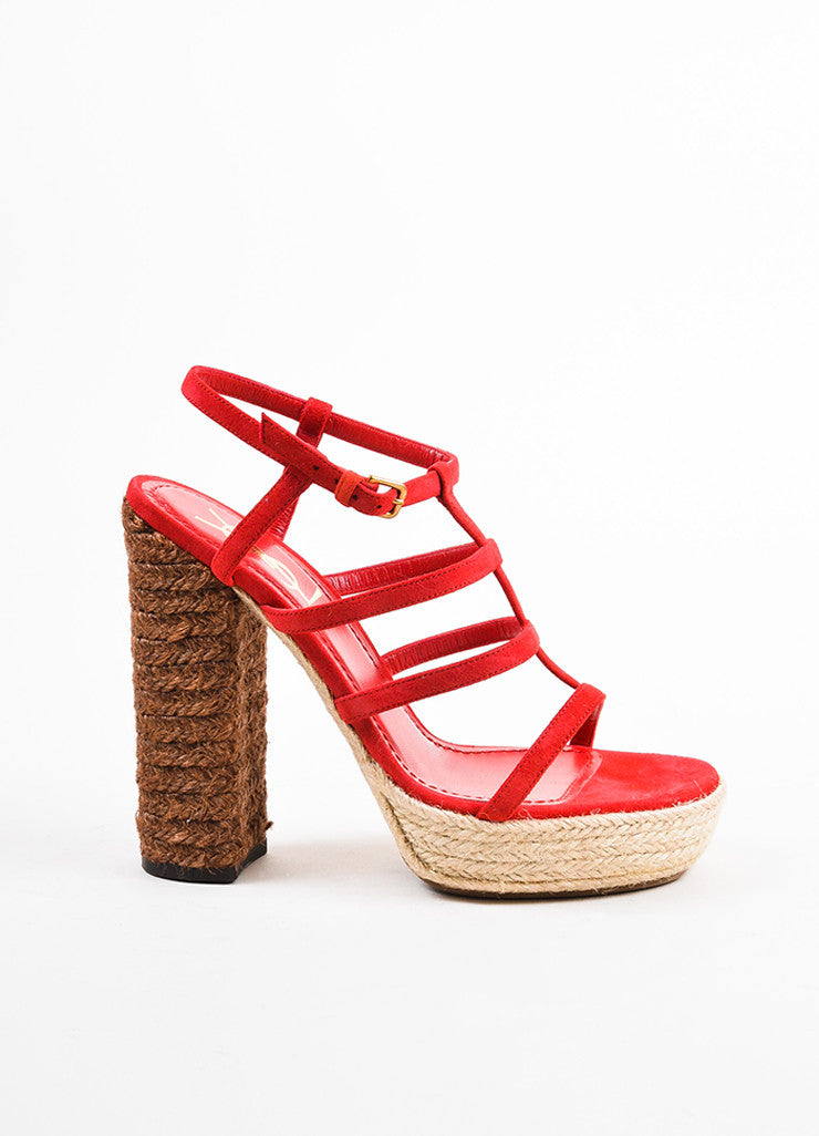 "Yves Saint Laurent Red and Brown Suede ""Gipsy"" Espadrille Platform Sandals Sideview"