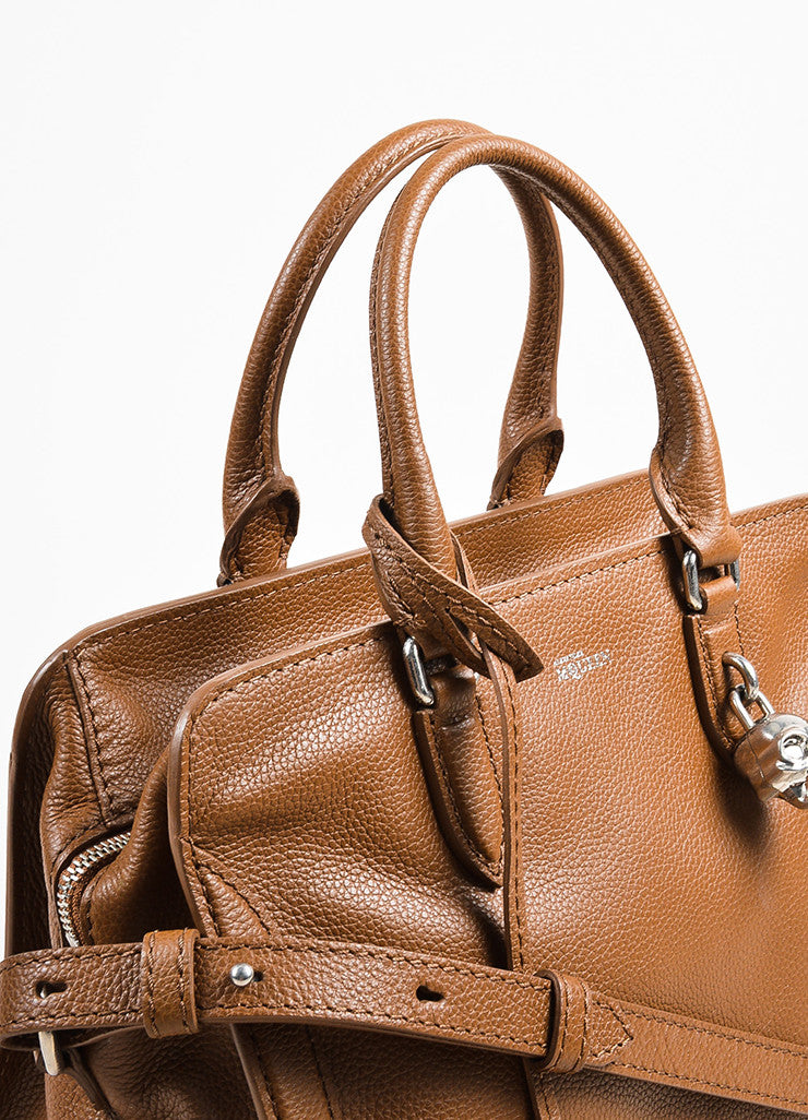 "Alexander McQueen Brown Pebbled Leather ""Small Padlock Satchel"" Bag Detail 2"