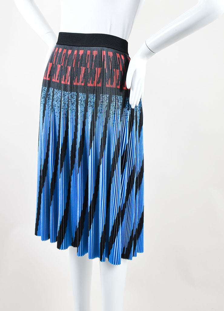 Alexander Wang Blue, Black, and Red Printed Micro Pleat Stretch A-Line Skirt Sideview