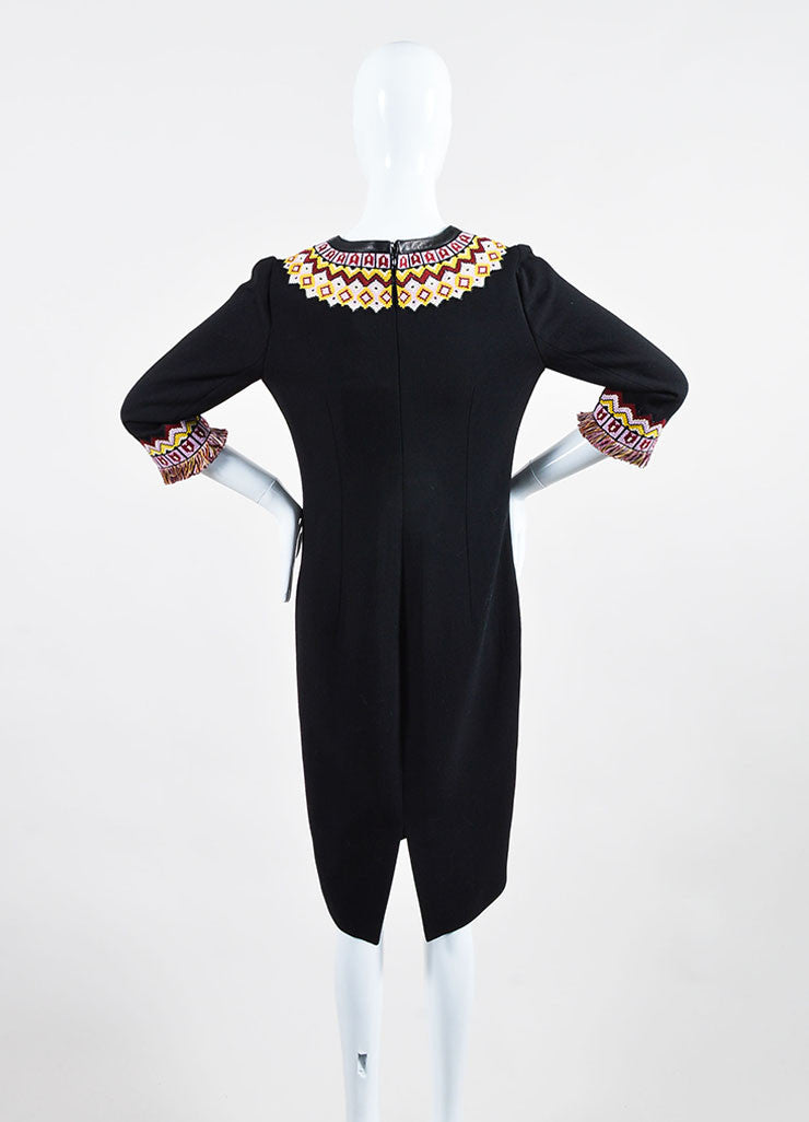Andrew Gn Black and Multicolor Wool Three Quarter Length Sleeve Dress