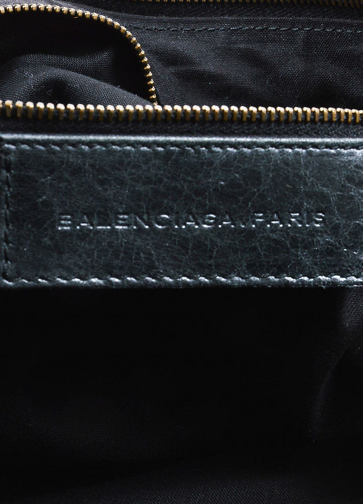 "Black Coated Leather Balenciaga ""Classic Giant Day"" Hobo Bag Brand"