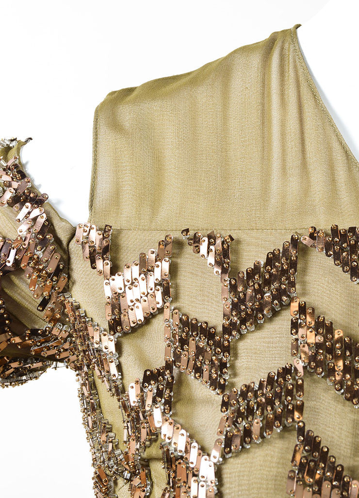 Bibhu Mohapatra Olive Copper Embellished Long Sleeve Gown Detail