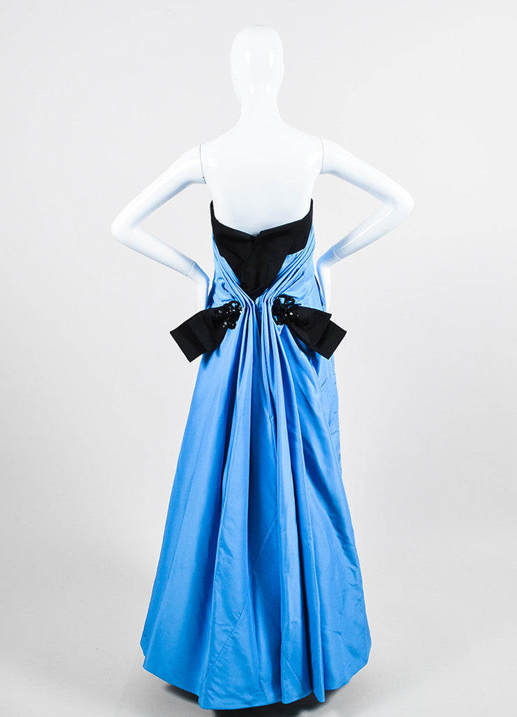 Blue and Black Carolina Herrera Silk Embellished Bow Strapless Gown Backview