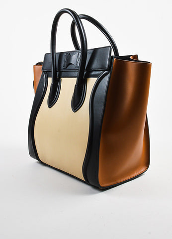 "Black Camel Nude Celine Leather Tricolor ""Mini Luggage"" Tote Bag Back"