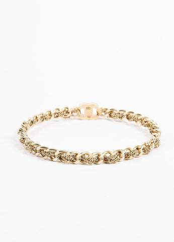 Gold Toned Chanel 'CC' Logo Curb Chain Bangle Bracelet Front