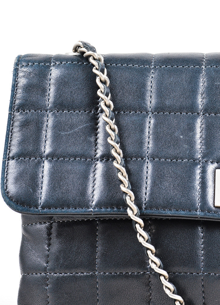 "Chanel Black Quilted Leather ""Chocolate Bar"" Shoulder Bag Detail 2"