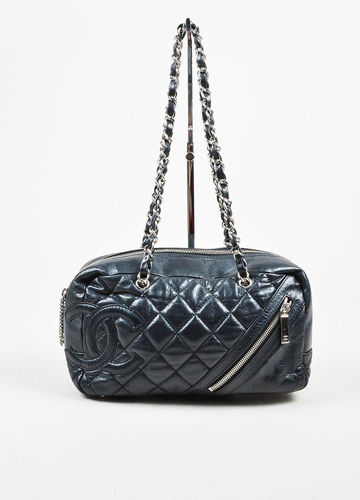 Black and Silver Toned Chanel Leather Quilted Shoulder Bag Frontview