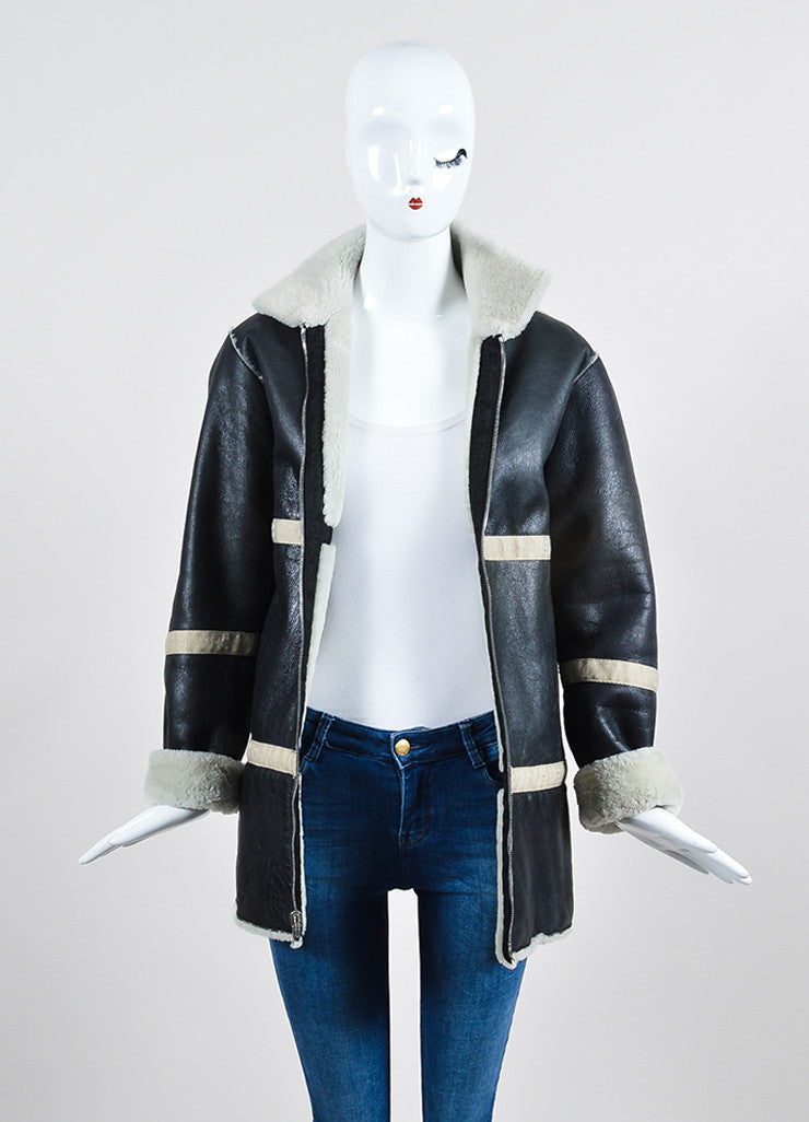 Black Leather and Cream Shearling Reversible Chanel Zip Up Coat  Frontview