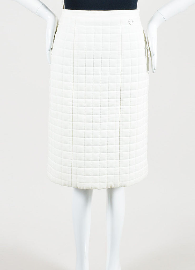"White Chanel Cotton Blend Quilted A Line ""00T"" Pencil Skirt Frontview"