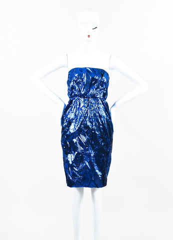 Chanel Metallic Blue and Black Silk Slashed Strapless Dress Frontview