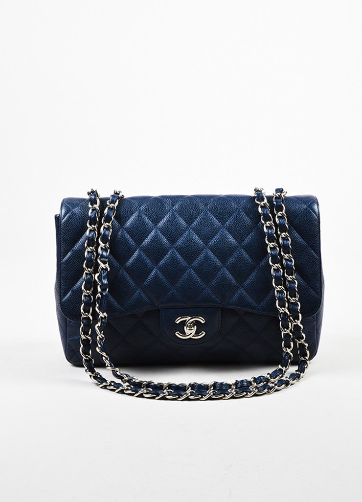 "Navy Chanel Caviar Leather Quilted Jumbo ""Classic Flap"" Shoulder Bag Frontview"