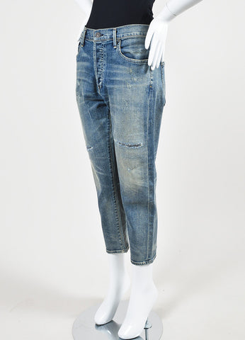 "Citizens of Humanity Blue Denim ""Corey Crop"" Slouchy Slim Jeans Sideview"