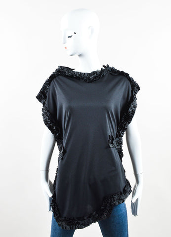 Comme des Garcons Black Stretch Knit Ruffle Oversized Asymmetrical Top Frontview