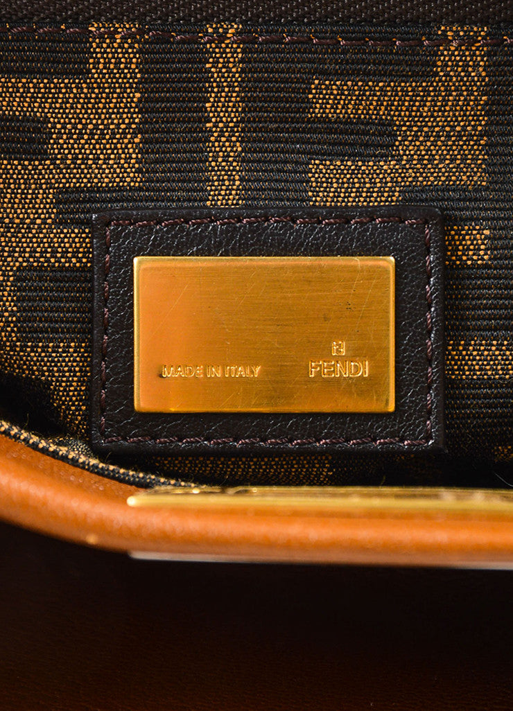 "Fendi Brown Leather Small ""Peekaboo"" Bag Brand"