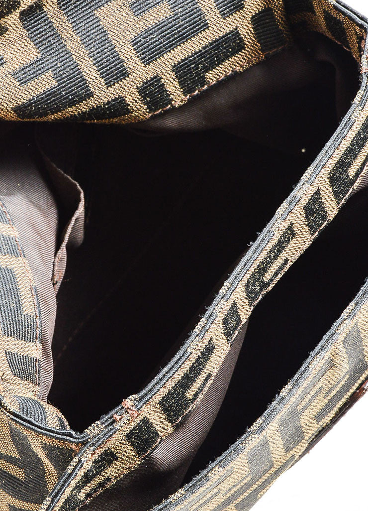 Brown and Black Fendi Canvas and Leather Monogram Crossbody Belt Bag Interior