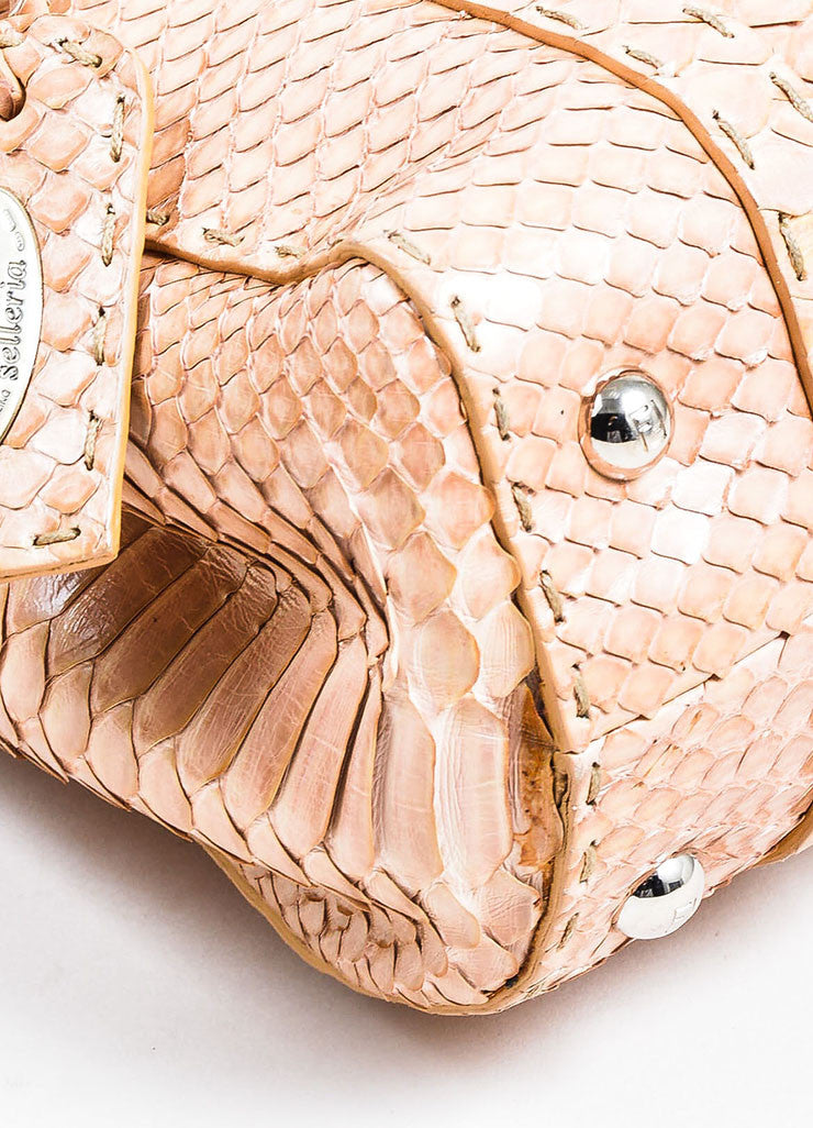 "Tan Fendi Python Snakeskin ""Selleria Linda"" Top Handle Small Handbag Detail"