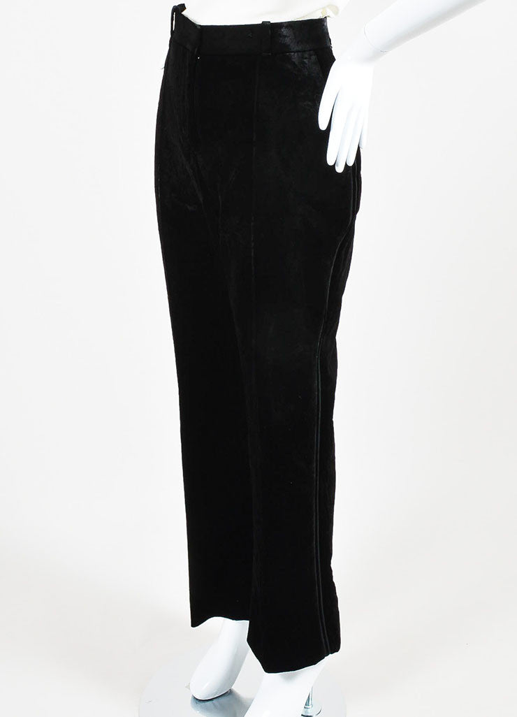 Black Velvet Givenchy High Waist Straight Leg Trousers Side