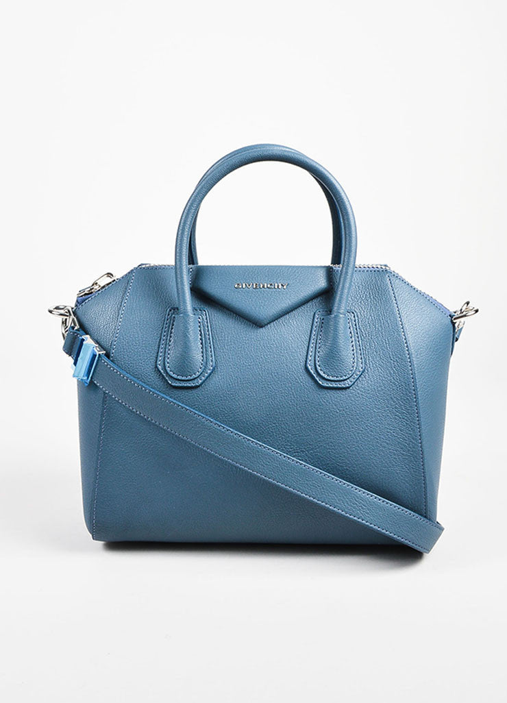 "Givenchy Blue Sugar Goatskin ""Small Antigona"" Satchel Bag Front"
