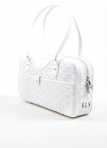 "Goyard White Coated Canvas Hand Painted Printed Monogram Stripe ""St. Martin"" Bag Sideview"