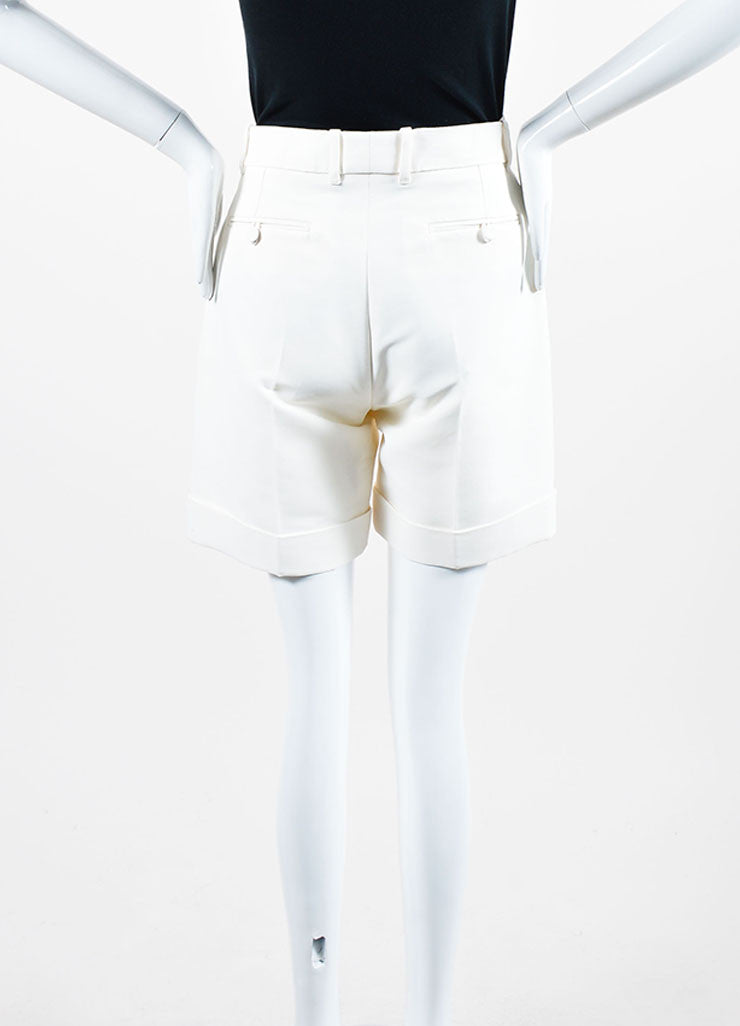 Cream Gucci Cuffed Bermuda Shorts Backview