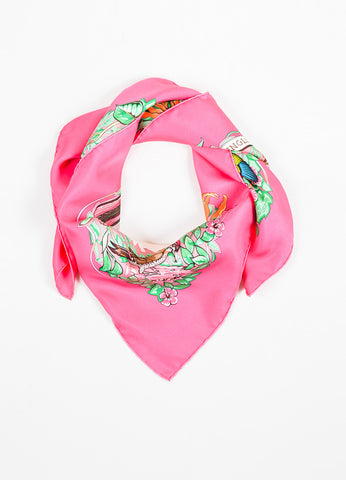 "Hermes Pink, Green, and Beige Silk Twill Leopards ""Jungle Love"" 90cm Square Scarf Frontview"