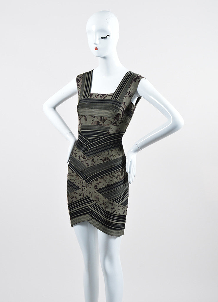 "Green and Black Herve Leger Printed Stripe Bandage ""Mallory"" Dress Sideview"