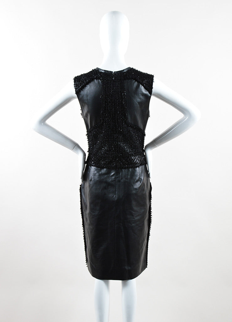 J. Mendel Black Leather Textured Paneled Sleeveless Sheath Dress Backview