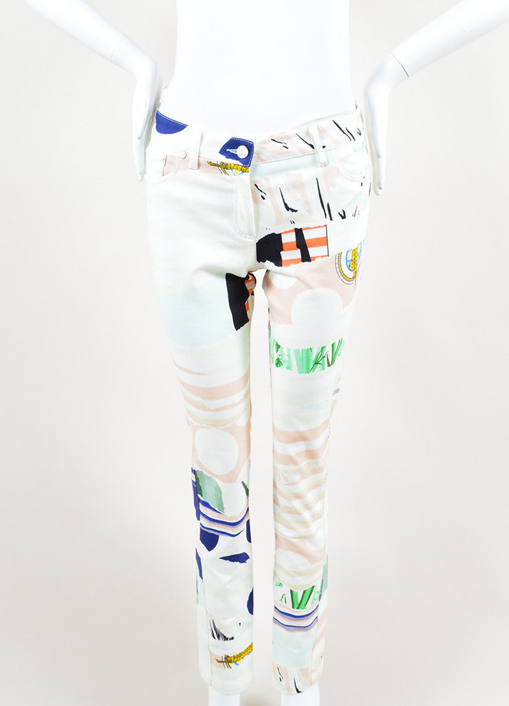 Kenzo Multicolor Torn Paper Print Ankle Zip Straight Leg Jeans Frontview