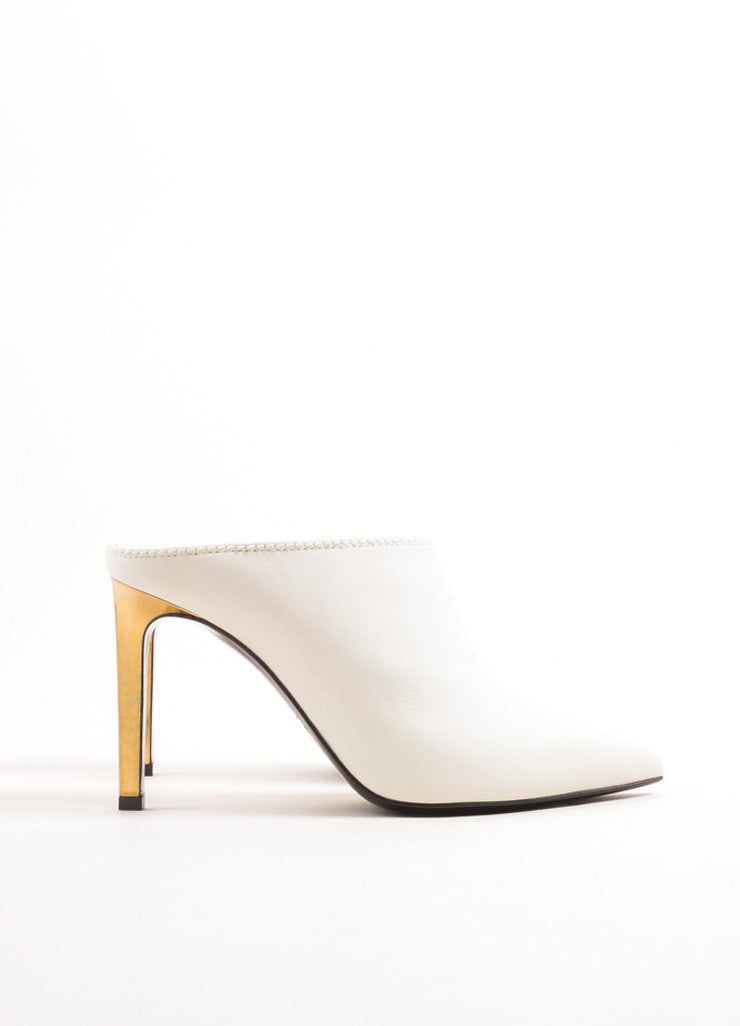Lanvin White and Gold Calfskin Leather Pointed Toe Mules Sideview