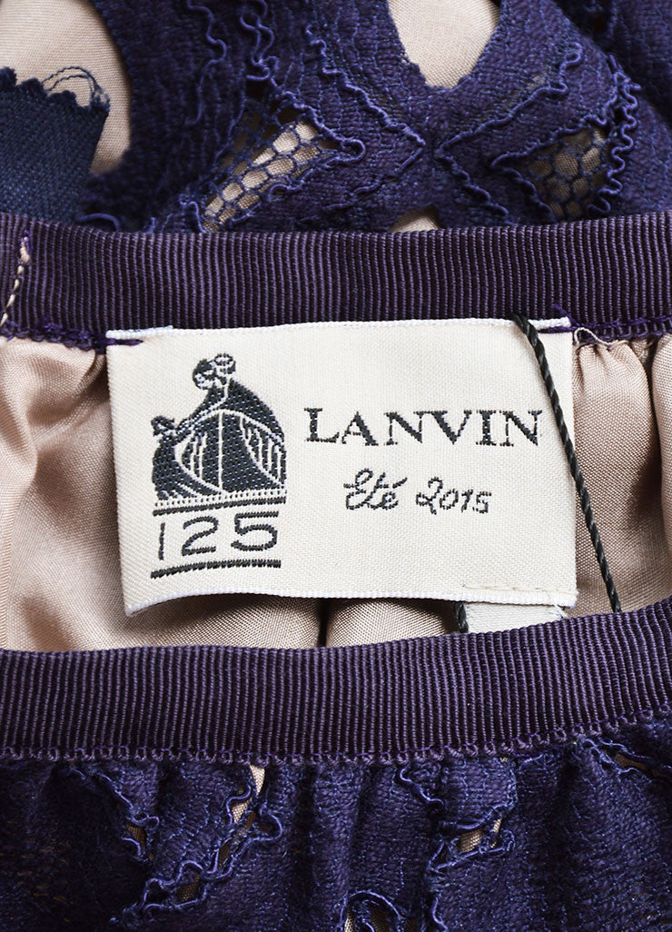 Lanvin Navy Nude Cotton Silk Eyelet Lace Scalloped A Line Skirt Brand
