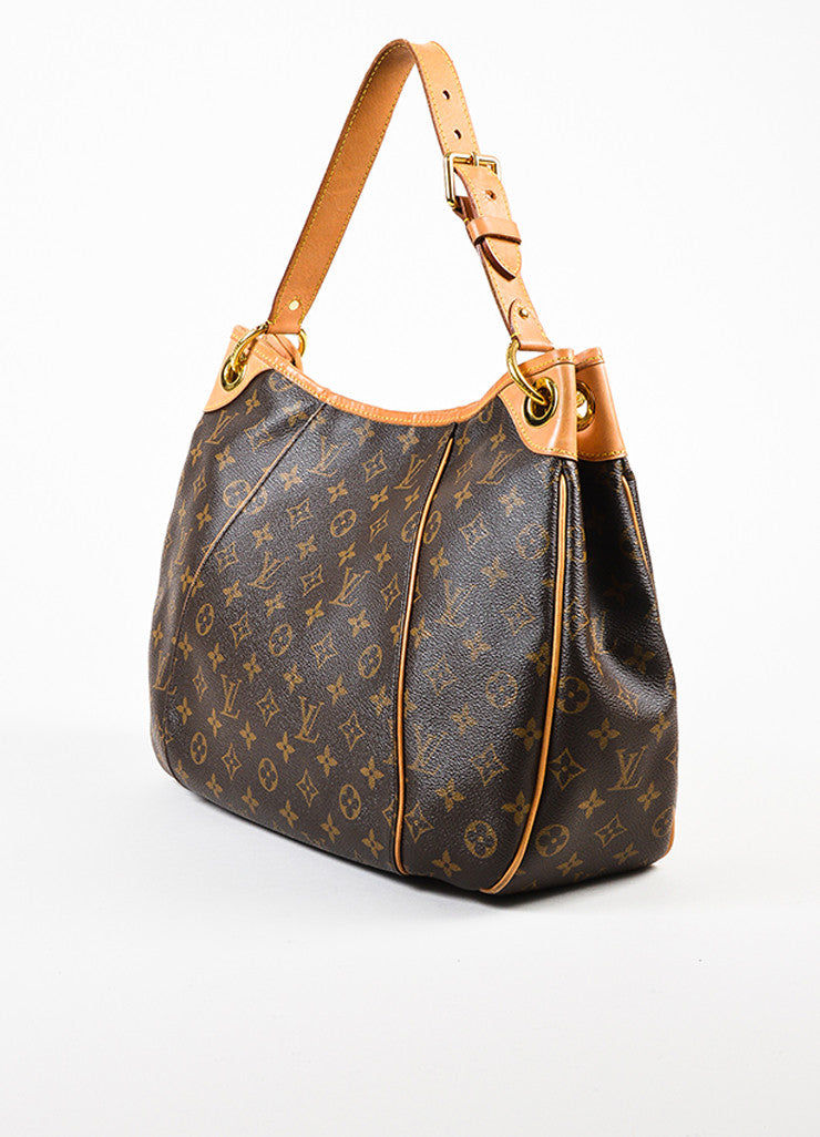 "Louis Vuitton Brown Monogram Coated Canvas ""Galliera PM"" Hobo Bag Sideview"