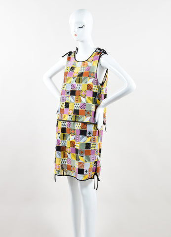 MSGM Multicolor Embroidered Patchwork Sleeveless Shift Dress Sideview