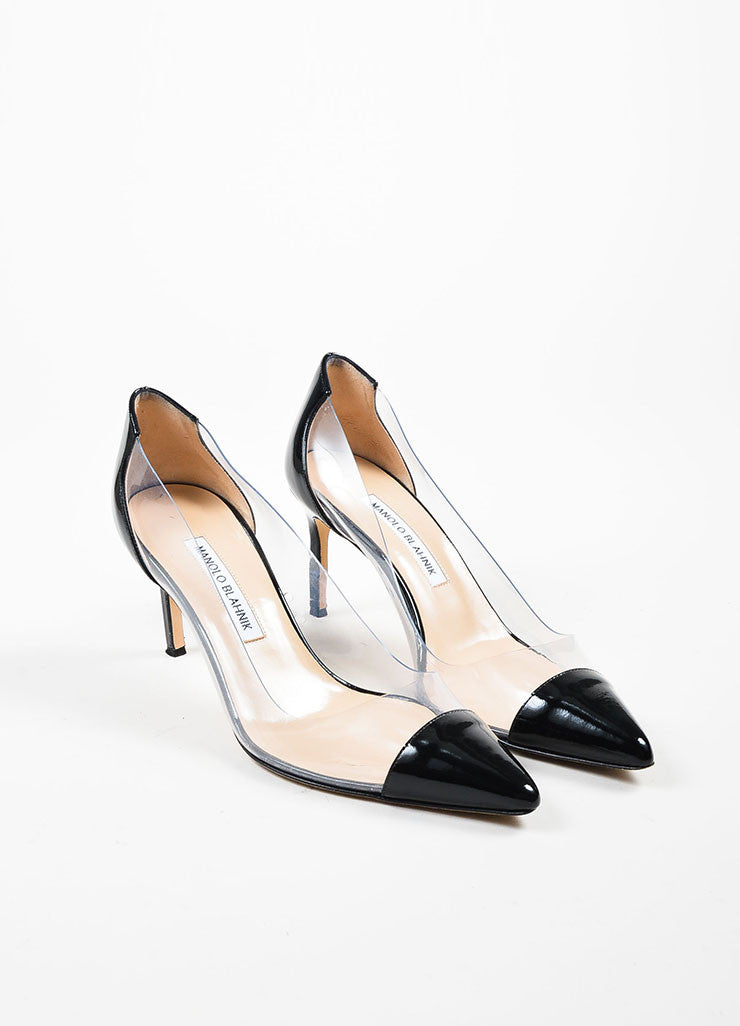 "Black Manolo Blahnik Patent Leather and PVC Pointed Cap Toe ""Pacha"" Pumps Frontview"