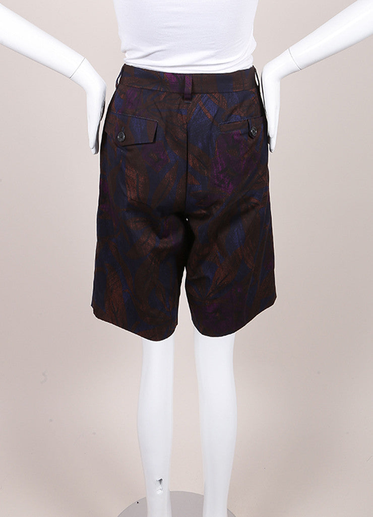 Marc Jacobs New With Tags Brown, Blue, and Purple Leaf Print Cotton Bermuda Shorts Backview