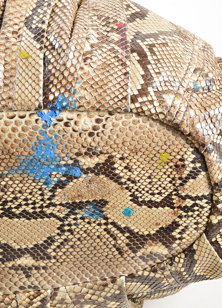 Miu Miu Brown and Beige Python Leather Hobo Bag Detail 2