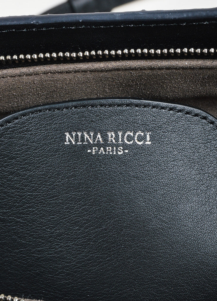 "Black and Blue Nina Ricci Suede and Snakeskin Cross Body ""Marche Duo"" Bag Brand"