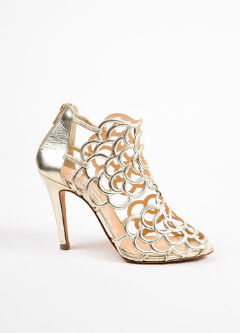 "Oscar De La Renta Gold Leather Scalloped ""Gladi"" Sandal Heels Sideview"