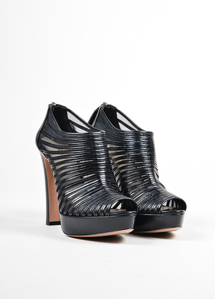 Black Prada Leather and Mesh Striped Peep Toe Platform Booties Frontview