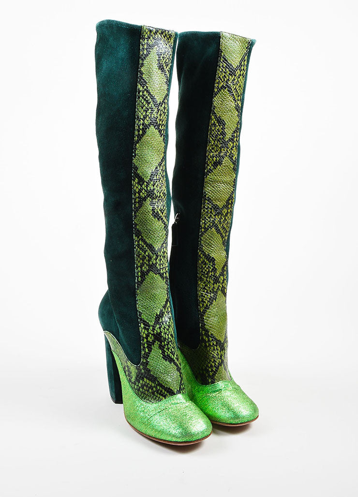 Green Prada Suede and Python Metallic Knee High Heeled Boots Frontview