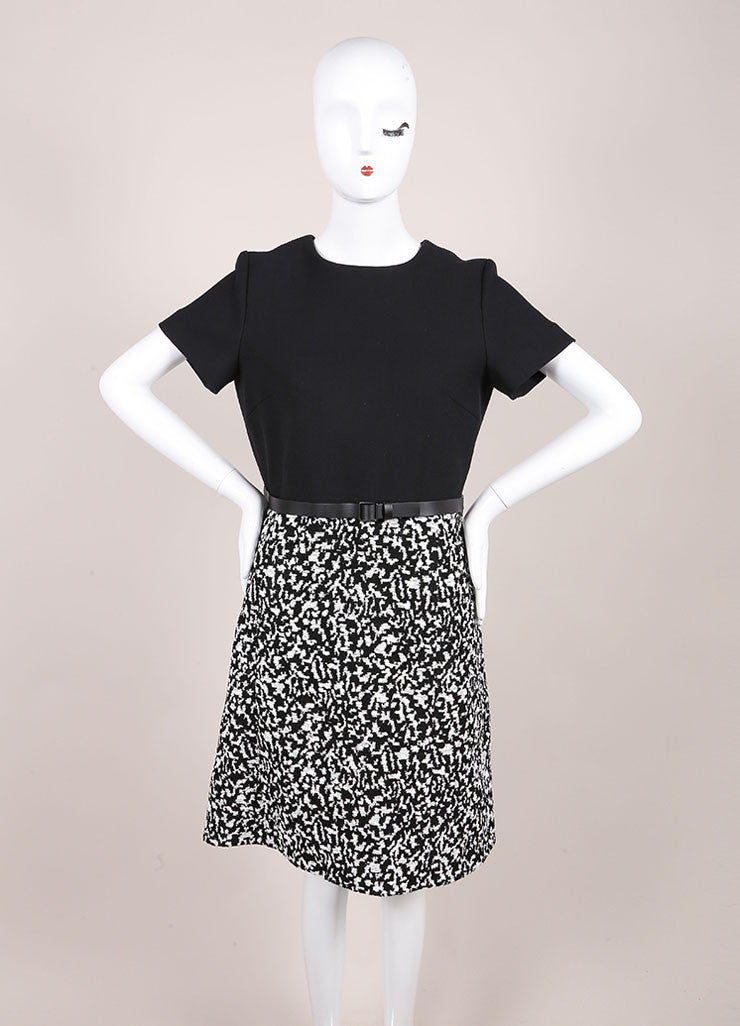 Proenza Schouler New With Tags Black and White Boucle Jacquard Short Sleeve A-Line Dress Frontview