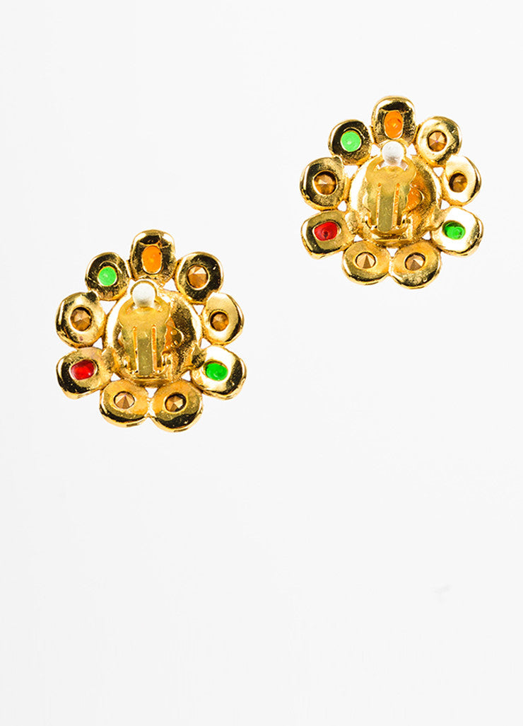 Chanel Gold Toned, Faux Pearl, and Multicolor Griproix Clip On Earrings Bottom View