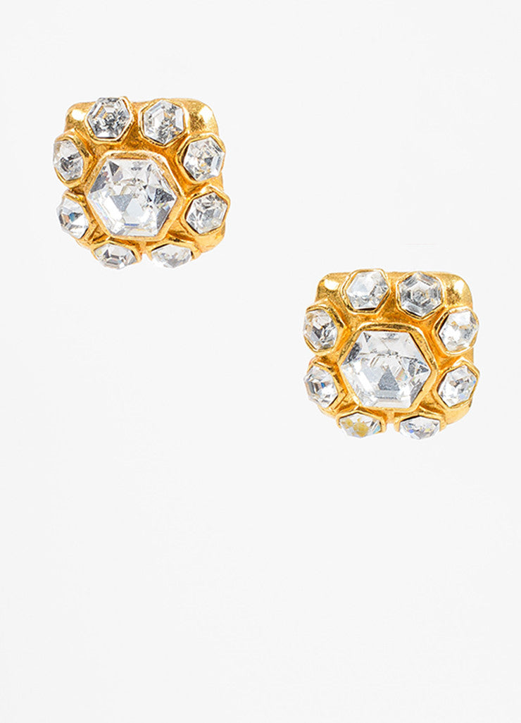 Gold Chanel Glass Crystal Square Clip On Earrings Front