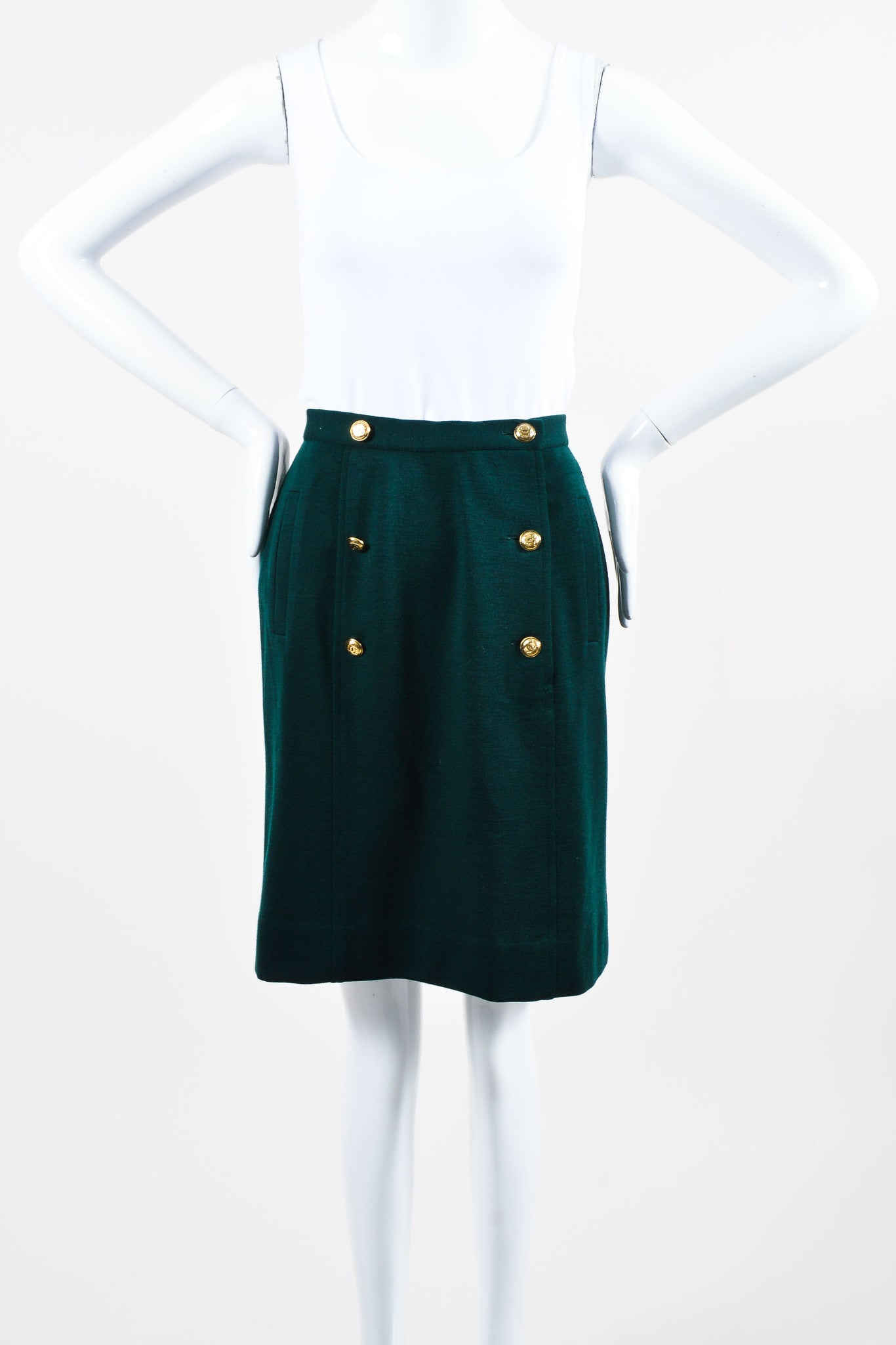 "Vintage Green Chanel Wool Sailor Gold ""CC"" Button Pencil Skirt  Front"