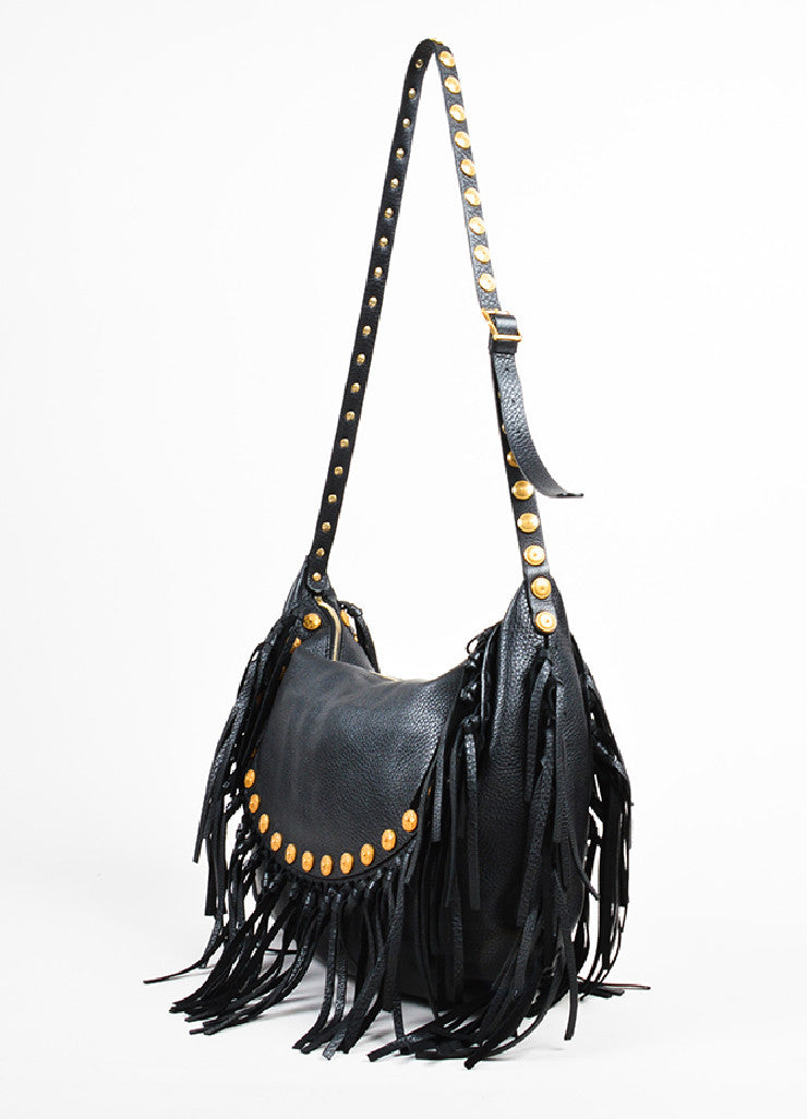 "Black Leather 	Valentino Gold Toned Studded Fringe Trim ""Rockee"" Hobo Shoulder Bag Sideview"
