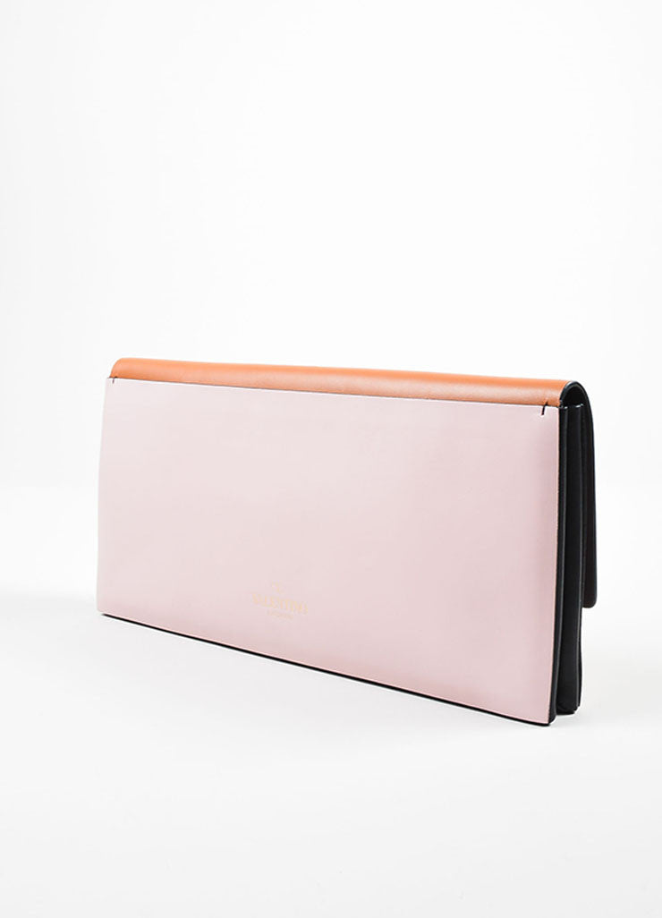 Tan, Pink, and Black Color Block Valentino Leather Rectangle Clutch Bag Sideview
